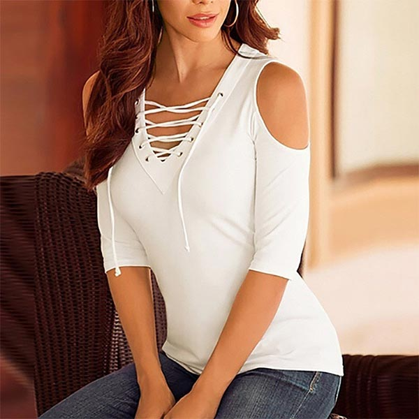 Slim Tees Straps V-neck Hollow Out Off Shoulder - White