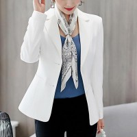 Outerwear Ladies Blazer Office Dress Coat - White