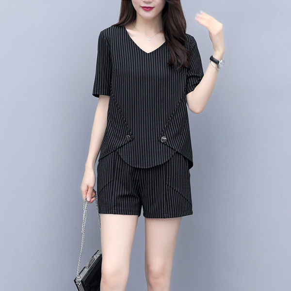 Lining Pattern V Neck Two Pieces Suit - Black