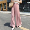 Ribbed Bell Bottom Loose Women Trousers - Pink
