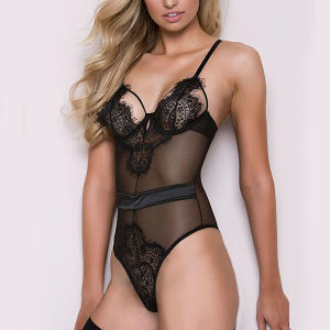 Strapped Shoulder Lace Night Lingerie - Black