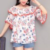 Floral Prints Wide Round Neck Summer Blouse Top