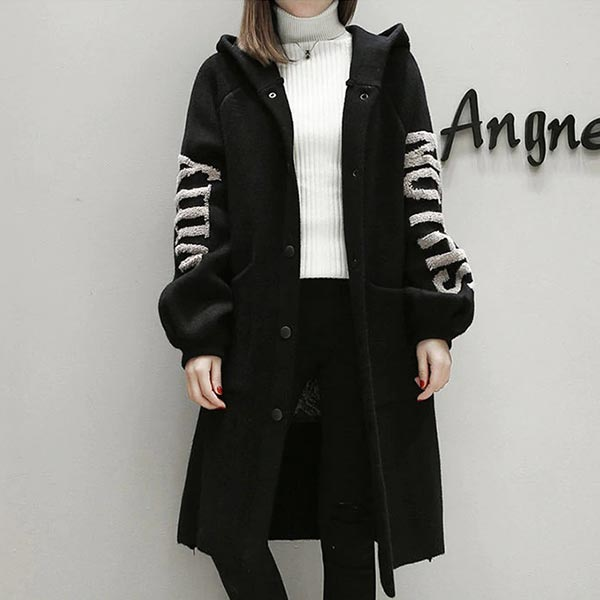 Woolen Loose Knitted Trench Coat Casual Cardigan - Black