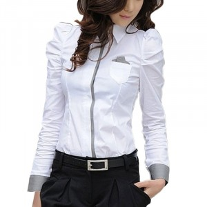 Office Formal Blouse Long Sleeve Women Shirts - White