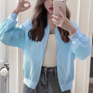 Thin Fabric Zipper Summer Wear Printed Jacket - Sky Blue