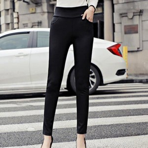 High Waist Pockets Slim Ladies Pencil Pants - Black