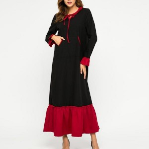 Stitched Flare Sleeve Loose Gowns Round-neck Dress - Black