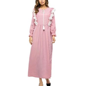 Long Tube Striped Polyester Lace Loose Women Dress - Pink