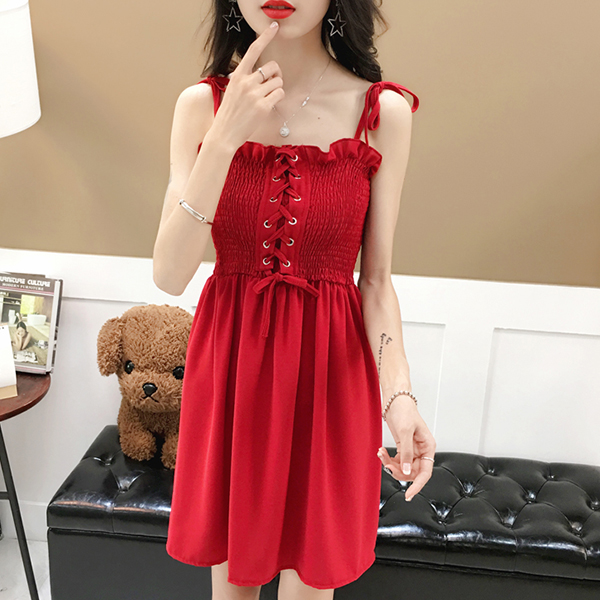 Laced Up Stretchable Bust Mini Skirt Dress - Red