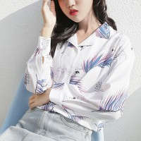 Feathers Print Suit Neck Blouse Shirt - White