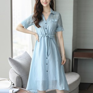 Waist Elastic Button Up Striped Mini Dress - Blue