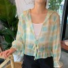 Thin Fabric Check Prints Speaker Sleeved Cardigan - Blue