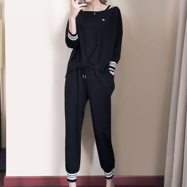Strap Wide Neck Two Piece Solid Summer Suit - Black