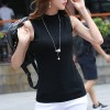 Ribbed O Neck Sleeveless Summer Wear Top - Black