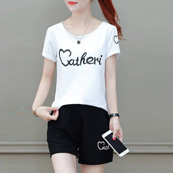 Letter Printed Short Sleeves Two Piece Suit - White
