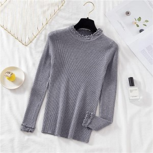 Frilled Stand Neck Ribbed Full Sleeves T-Shirt - Gray