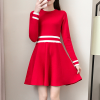 O Neck Striped Contrast A-Line Mini Dress - Red