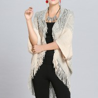 Mesh Pattern Half Sleeves Female Shawl Sweaters - White