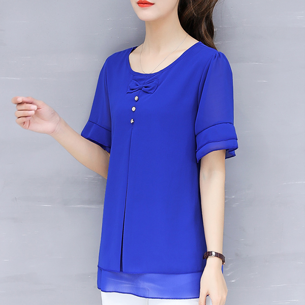 Bow Chiffon Thin Fabric Flared Blouse Top - Blue