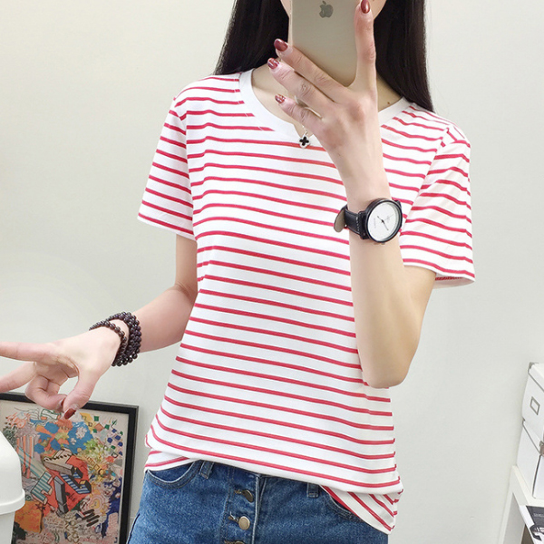 Striped Prints Casual Wear T-Shirt - Red