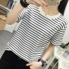 Striped Prints Casual Wear T-Shirt - White