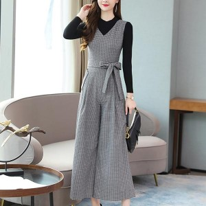 Side Pockets Wide-leg Pants One-piece Dress - Gray