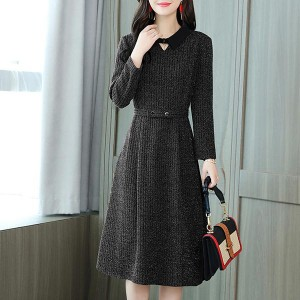 Mid-length Knitted Round-neck Warm A-line Dress - Black