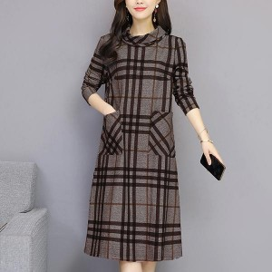Turtleneck Straight Loose Midi Women Dress - Coffee