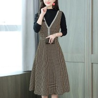 Hounds Tooth Woolen Casual Women Sleeveless Dress - Coffee