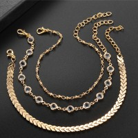 Gold Plated Crystal Chain Anklets Set