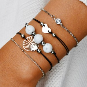 Fives Pieces Thread And Chain Casual Bracelets Set