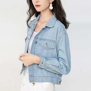Short Fitted Shirt Collar Denim Female Jackets - Light Blue