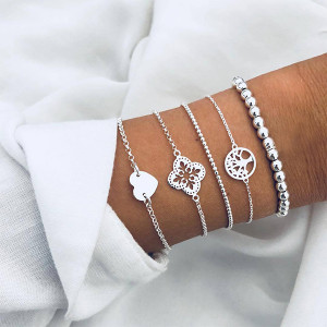 Chain Silver Plated Five Pieces Bracelets