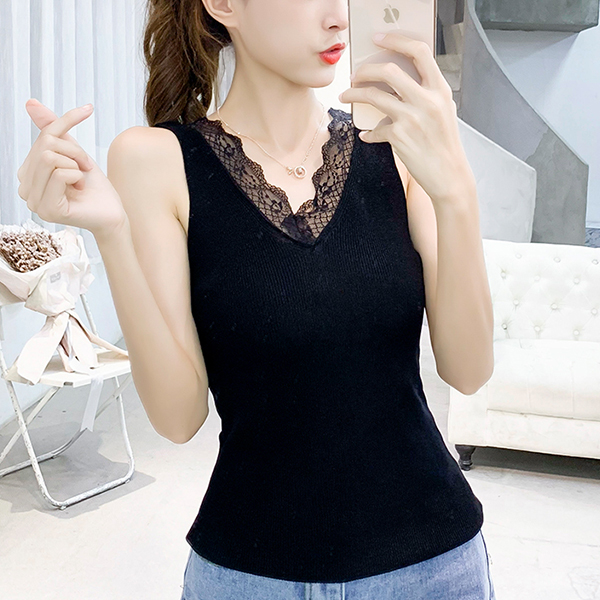 Lace Floral Summer Textured Sleeveless Blouse - Black