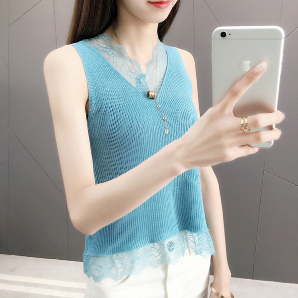 Lace Floral Summer Textured Sleeveless Blouse - Blue