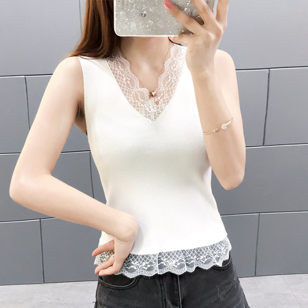 Lace Floral Summer Textured Sleeveless Blouse - White