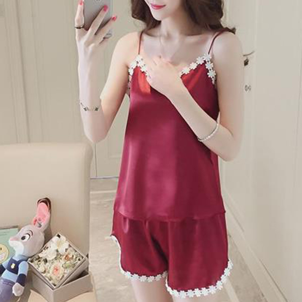 Decorated Lace Silk Soft Nightwear Dress - Red