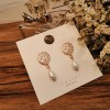 Party Special Pearl Carved Gold Plated Ear Tops