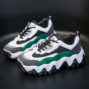 Thick Sole Soft Canvas Laced Up Sneakers - Green
