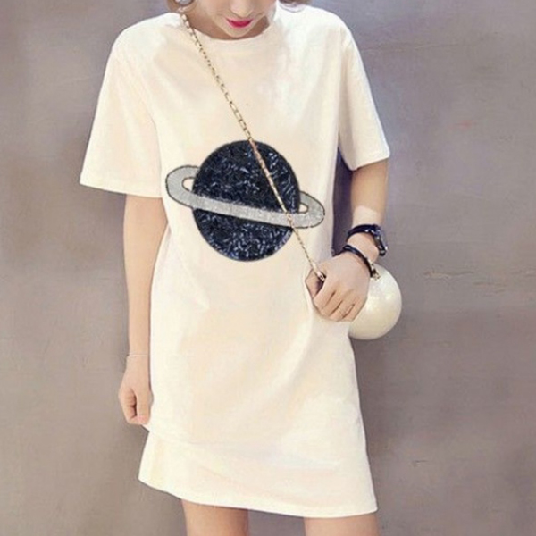 Half Sleeved Printed Planet T-Shirt Dress - White