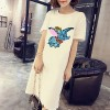 Sequins Decorated Summer Loose Long T-Shirt - White