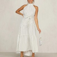 Polka Dots Halter Sleeveless Midi Flared Dress - White