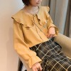 Ruffle Shoulders O Neck Button Up Blouse - Yellow