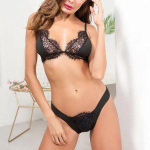 Laced Buckle Strap Mashed Two Piece Lingerie - Black
