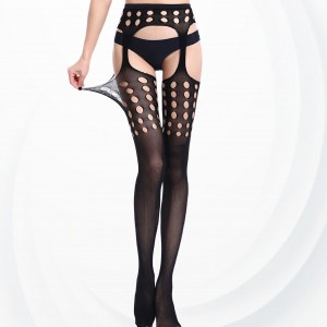Cut Out Round Net Transparent Leg Stockings