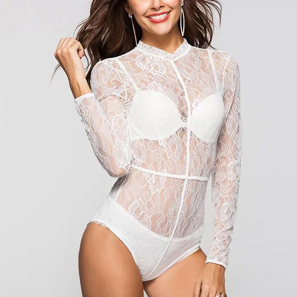 Full Sleeves Floral Lace Texture Slim Lingerie - White
