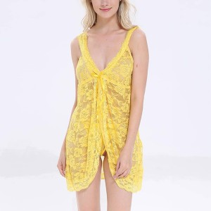 Strappy Shoulder Floral Lace Yellow Nightwear Lingerie