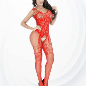 Fish Net Hollow Transparent Body Stockings - Red