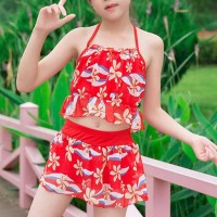 Floral Halter Neck Two Piece Beach Swimwear Suit - Red