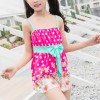 Floral Halter Neck Two Piece Beach Swimwear Suit - Hot Pink